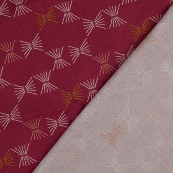 Popeline Baumwolle, bordeaux-gold-weiss-rosa, Stroh, Tillisy