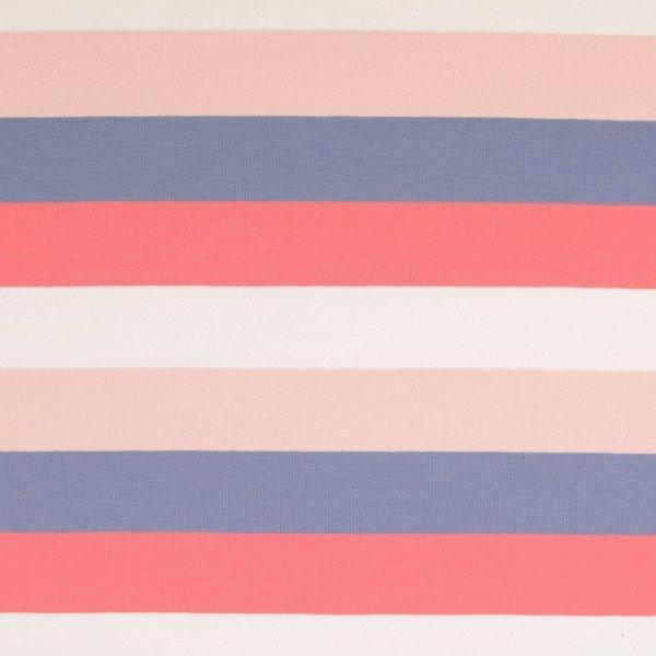 Jersey Baumwolle, Block Stripes, rosa-lila-weiss