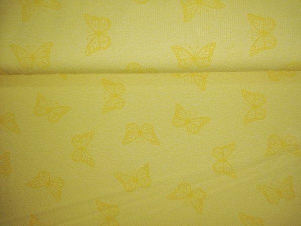 Jersey -Stretch bedruckt Schmetterlinge gelb