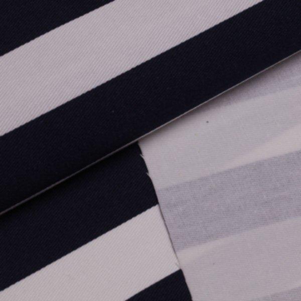 Köper Streifen breit bedruckt - marineblau-weiss