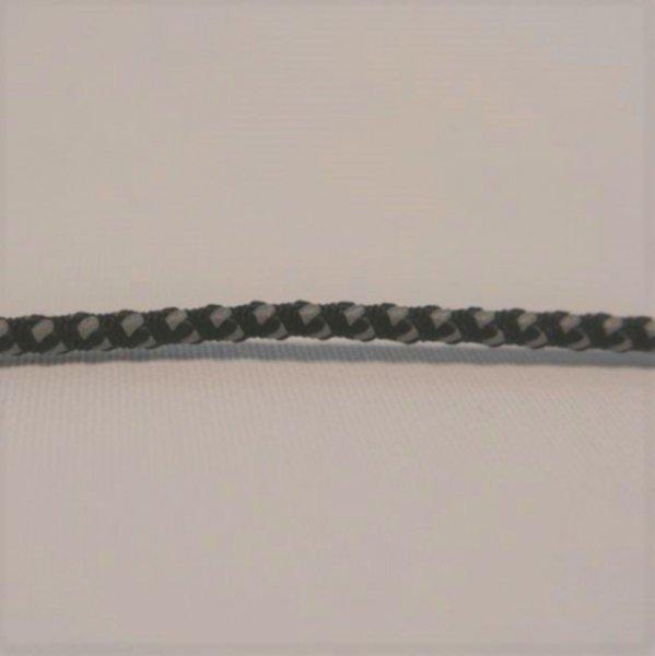 Kordel 3mm - reflektierend silber/schwarz