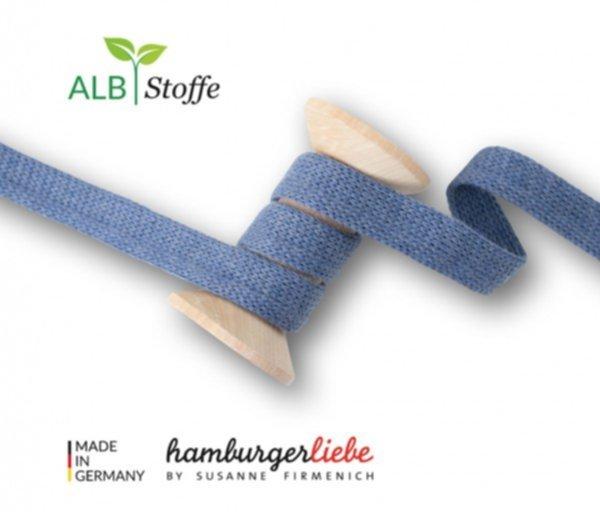 Cord ME uni, jeans-mélange, Flachkordel, Hamburger Liebe (Albstoffe) 1.2cm