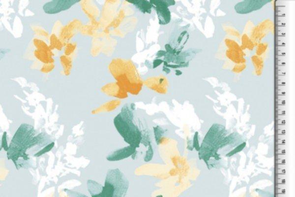 Jersey Viskose, Blumen, gelb-grün