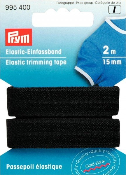 Elastic-Einfassband 15mm, Falzgummi von Prym, schwarz, Karte à 2m