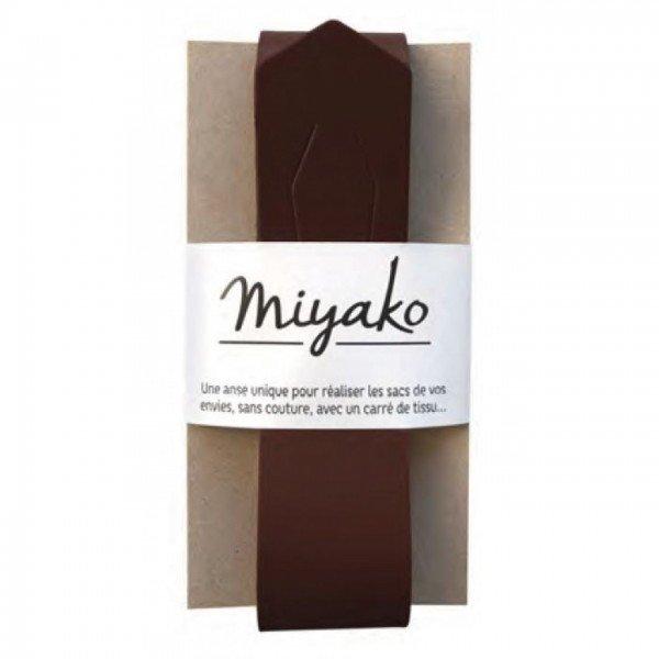 Miyako Taschengriff aus Echtlder - nähfrei! - chataîgne (braun)