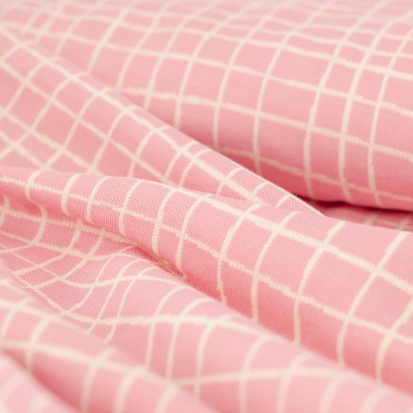 Jacquard Jersey Life Loves You - GRID, rosa-meringa, Hamburger Liebe (Albstoffe)