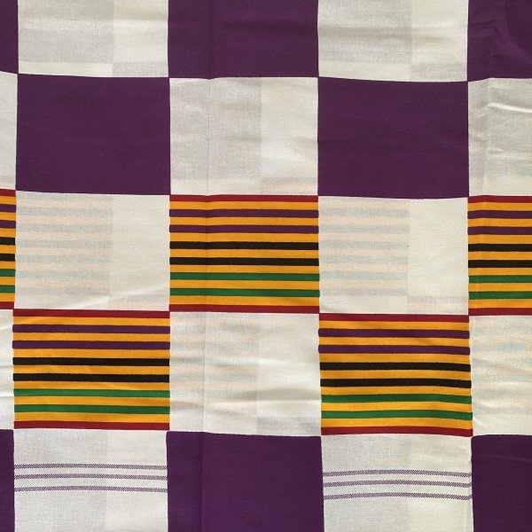 Kente Print, Weiss / Lila / Bunt mit rechteckigen Mustern