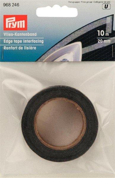 Vlies-Kantenband 20mm, graphit, aufbügelbar, 10m