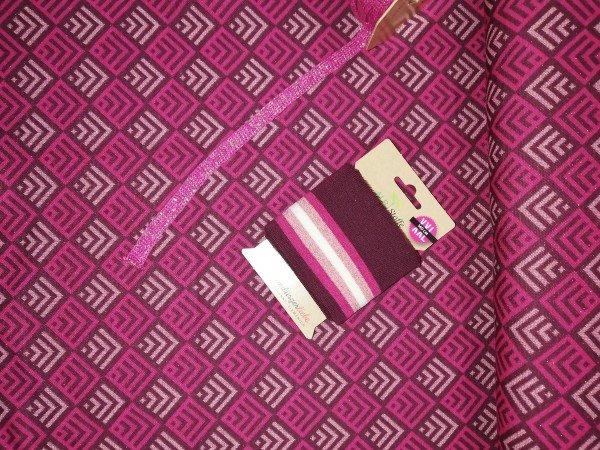 Albstoffe SPARKLE - TILES Jacquard pink / gold