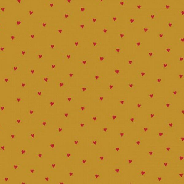 Baumwolle beschichtet Heart - col. 003 ocker/rot
