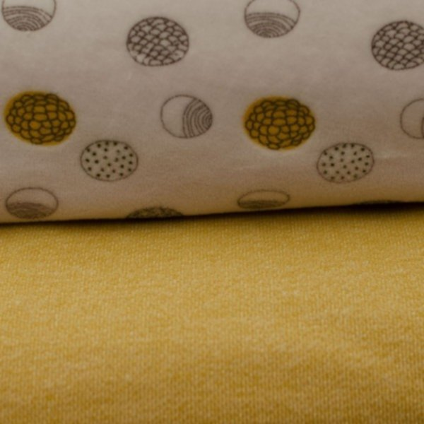 Organic Nicki Druck, Punktvariationen, grau, gelb auf hellgrau