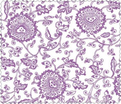 BW-Stoff Jaipur Blumenornament weiss-hellviolett