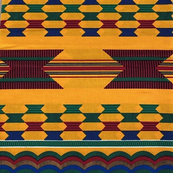 Kente Print, Orange mit grünem, roten und blauen Muster