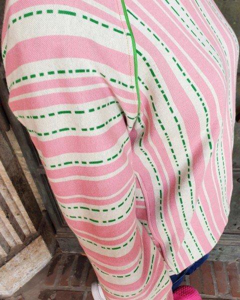 Jacquard Jersey Bloom Pin Stripes, rosa-weiss-grün, Hamburger Liebe (Albstoffe)