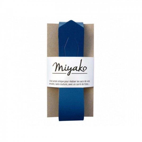 Miyako Taschengriff aus Echtlder - nähfrei! - blau