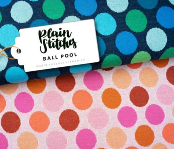 Jacquard Jersey Plain Stitches, Ball Pool, Punkte blau-grün, Hamburger Liebe (Albstoffe)
