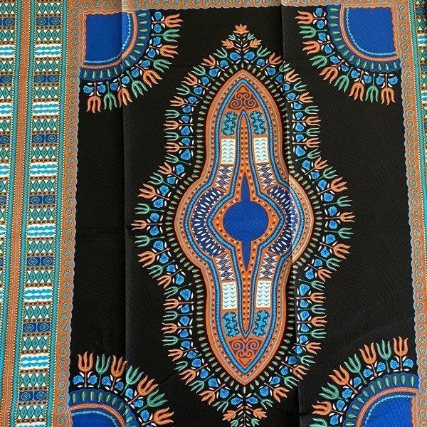 Dashiki Print, Schwarz / Blau, Mustergrösse 118cm x 80cm
