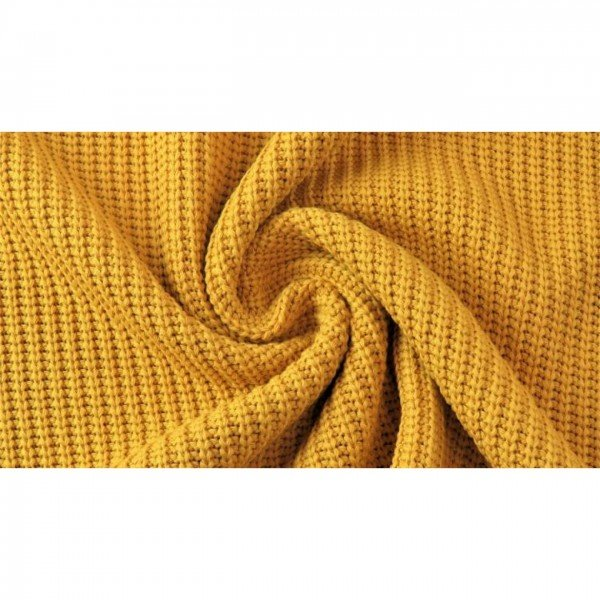 """Grob-Strickstoff """"Knitted Cotton Cable"""" - col. 0434 senf"""