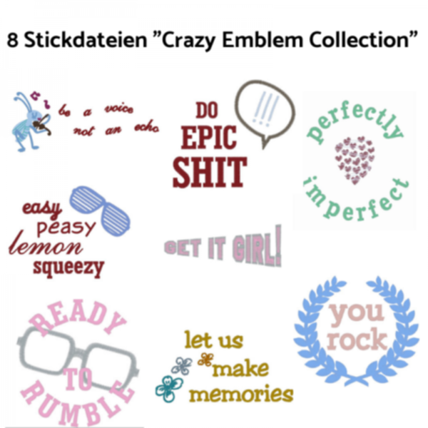 FREEBIE! Stickdateien - Crazy Emblem Collection
