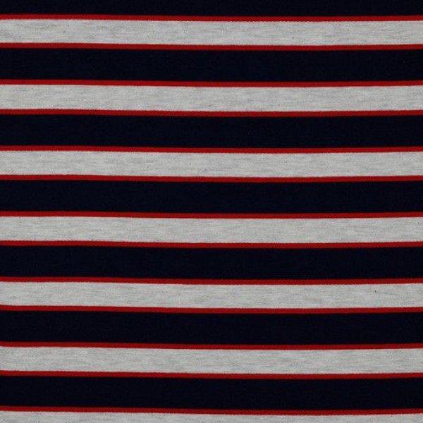 French Terry Multi Stripe - col. 001 navy/ ecru melange