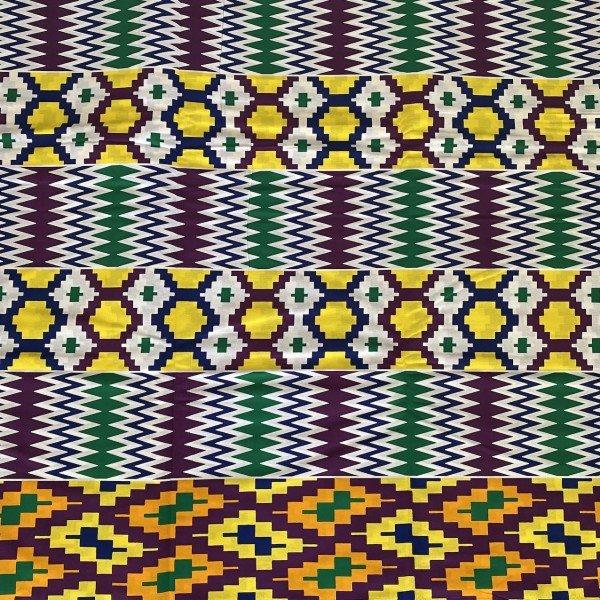 Kente Print, Weiss / Bunt mit mehreren Mustern