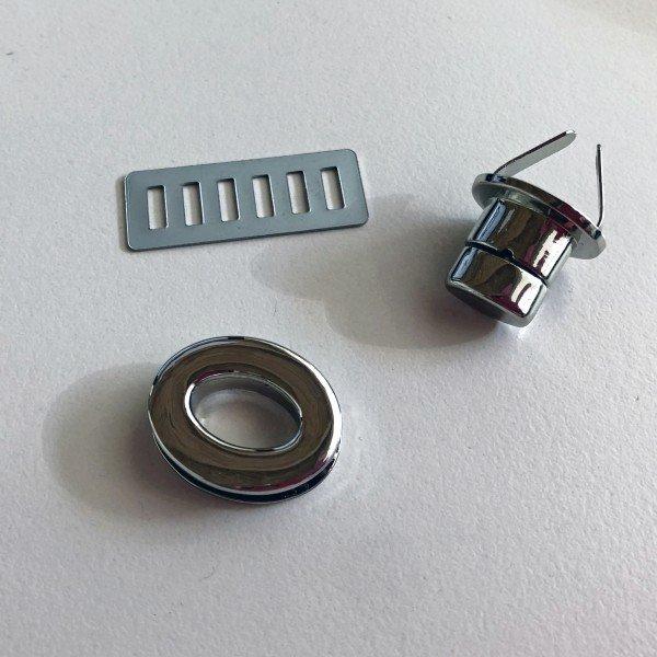 Drehverschluss oval 25x20mm, silber